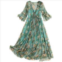 Women Long Dress 100%Real Silk Green Printed Dresses V-Neck Half Butterfly Sleeved Calf Length 2019 New Summer for