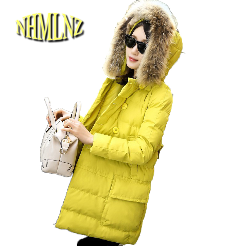 Latest Winter Fashion Women Down jacket Fur collar Hooded Thickening Warm Cotton Coat Big yards Slim Medium Long Coat G1914 цены онлайн