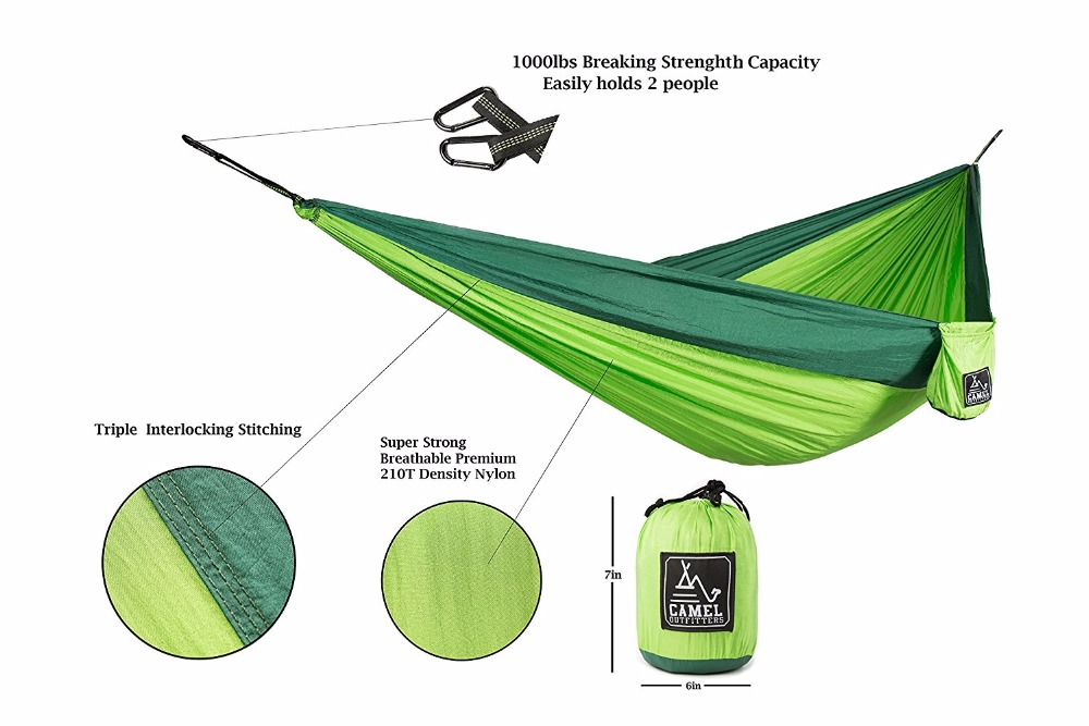 US $46 0 |Outfitters XL Double Nylon Parachute Camping Hammock Lightweight  Portable with Max 1000 lbs Capacity Best for Backpacking Hiking-in Tent