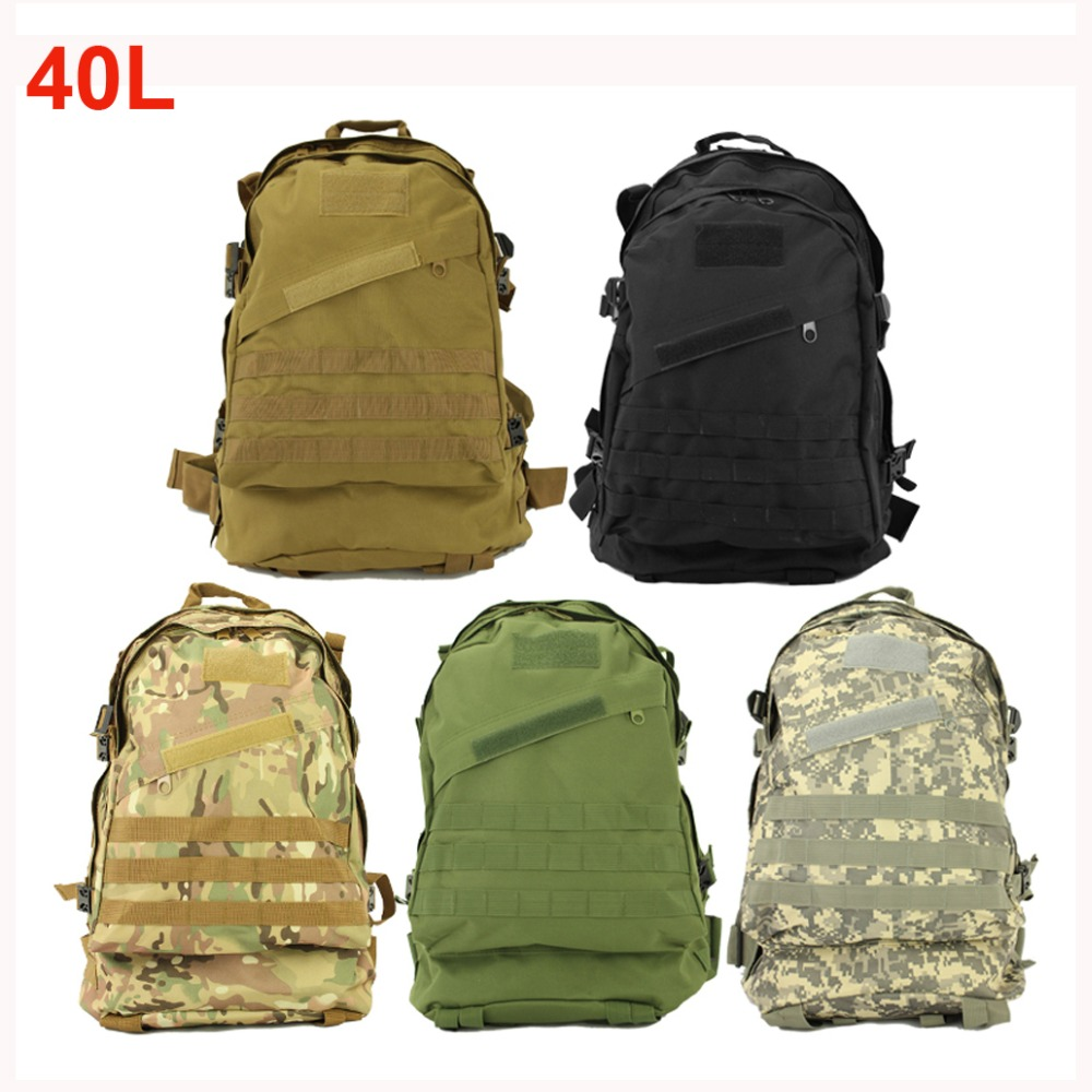 40L al aire libre del bolso que acampa deportes 3D Molle táctica militar mochila