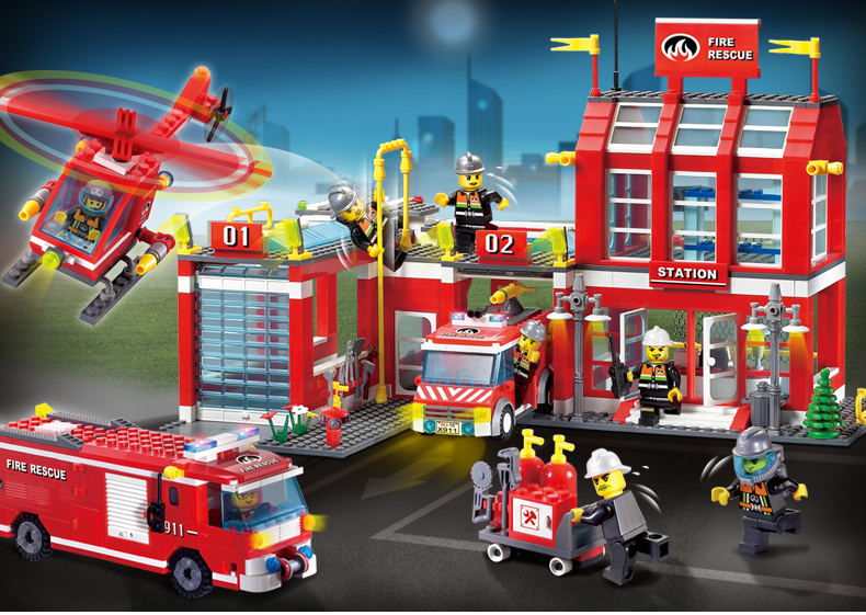 building block set compatible with lego city firehouse station 3D Construction Brick Educational Hobbies Toys for Kids sluban chinese military building block set compatible with lego aircraft carrier liaoning construction educational hobbies toys