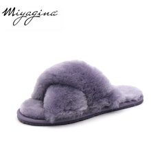 High Quality Natural Sheepskin Fur Slippers Fashion Female W