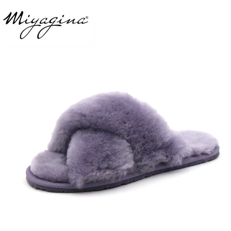 High Quality Natural Sheepskin Fur Slippers Fashion Female Winter Slippers Women Warm Indoor Slippers Soft Wool Lady Home Shoes