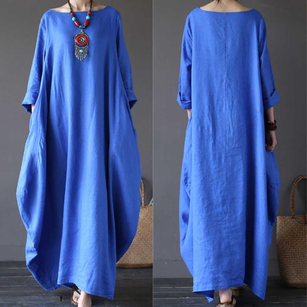 c7d43410bc57e 4XL 5XL Cotton Linen Summer Dress Plus Size Boho Loose White Long Maxi  Dresses Women Female 3/4 Batwing Sleeve Robe Dress