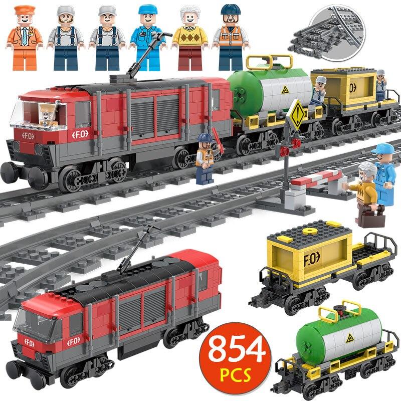 854 pcs Técnica Da Cidade Série Building Block Compatível Legoingly Slideway Assembléia de Trilhos de Trem Brinquedo para Crianças Presente de Aniversário