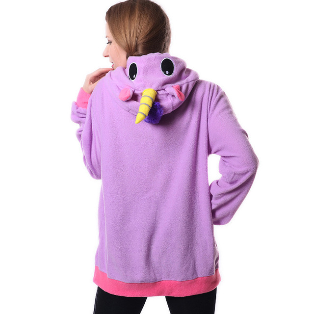 Cute Unicorn Horn Warm Fleece Women's Hoodie