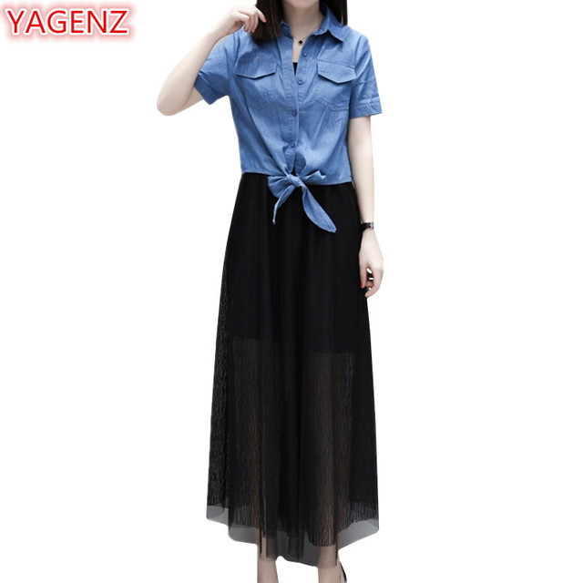 US $26.01 49% OFF|YAGENZ Plus size Clothes Two Piece Set 2018 Summer Sets  Women 2 Piece Outfit Sets Denim T shirt Tops And Black Long Dresses 1023-in  ...