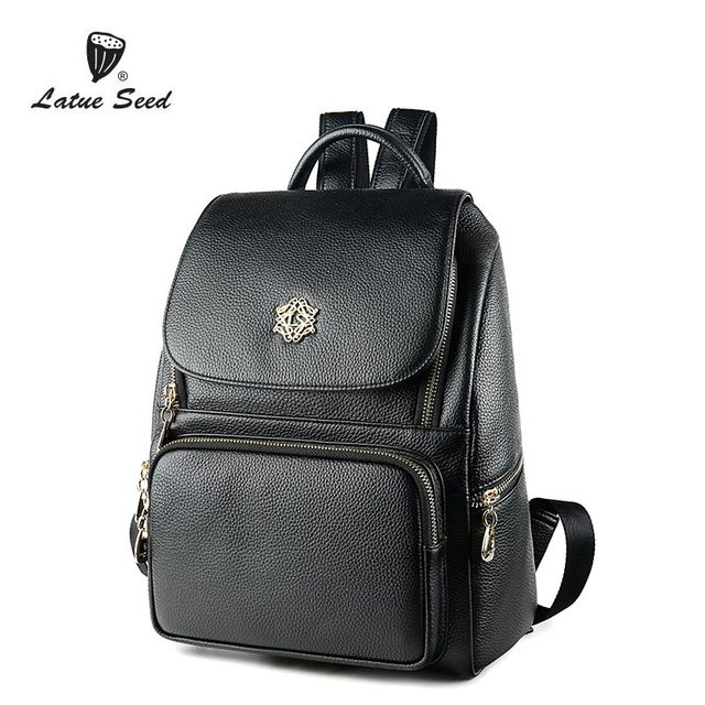 996135943a48 Latue Seed Genuine Leather Backpack Female Bag 2018 New Casual Fashion  Backpack Solid Black Brand Bag