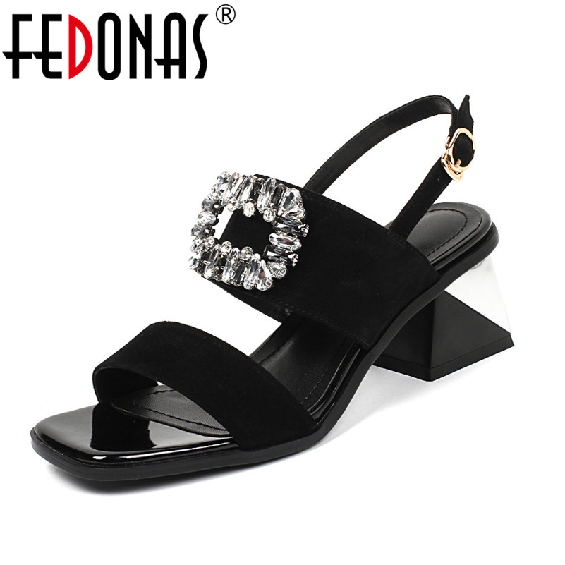 FEDONAS Women High Heels Sandals Summer Square Heels Rhinestone Wedding Party Shoes Woman Ladies Sexy Party Shoes Female Sandals hee grand cross tied women sandals summer sexy square high heels flock wedding shoes woman elegant pumps ladies 3 colors xwz2049