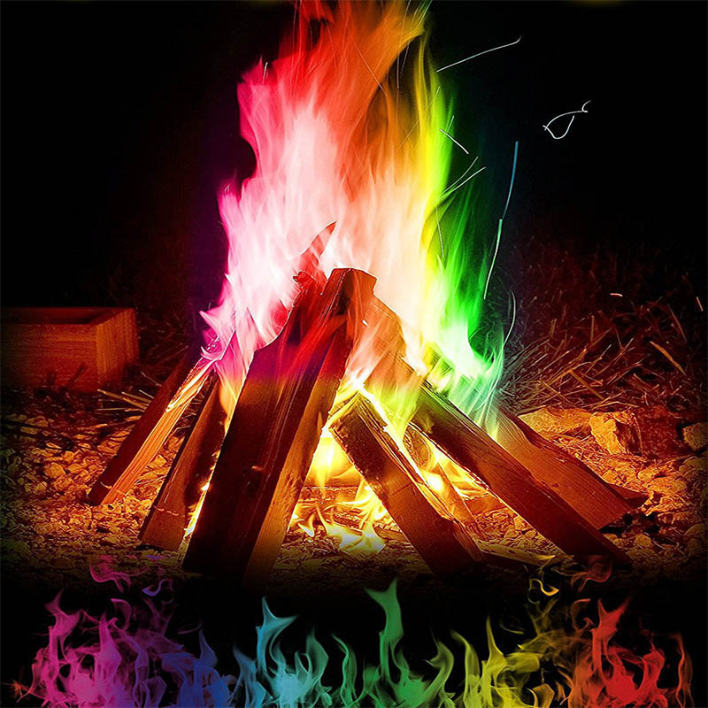 Magic Fire Mystical Magic Tricks Colorful Flames Powder Bonfire Sachet Magicians Pyrotechnics Classic Toy Camping Survival Tools
