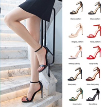 2019 Sandals Elegant High Heel Shoes Women's Summer Leather Ladies Wedding Party Thin Heels Sandals For Woman Fashion Buckle asumer black red fashion summer new shoes woman 2018 elegant wedding shoes thin heel high heels sandals genuine leather shoes