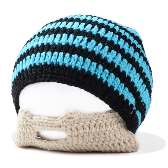 1e783365c46 Handmade Knitted Crochet Beard Hat Bicycle Mask Ski Cap roman knight  octopus Cool Funny beanies Gift(Blue   Black)