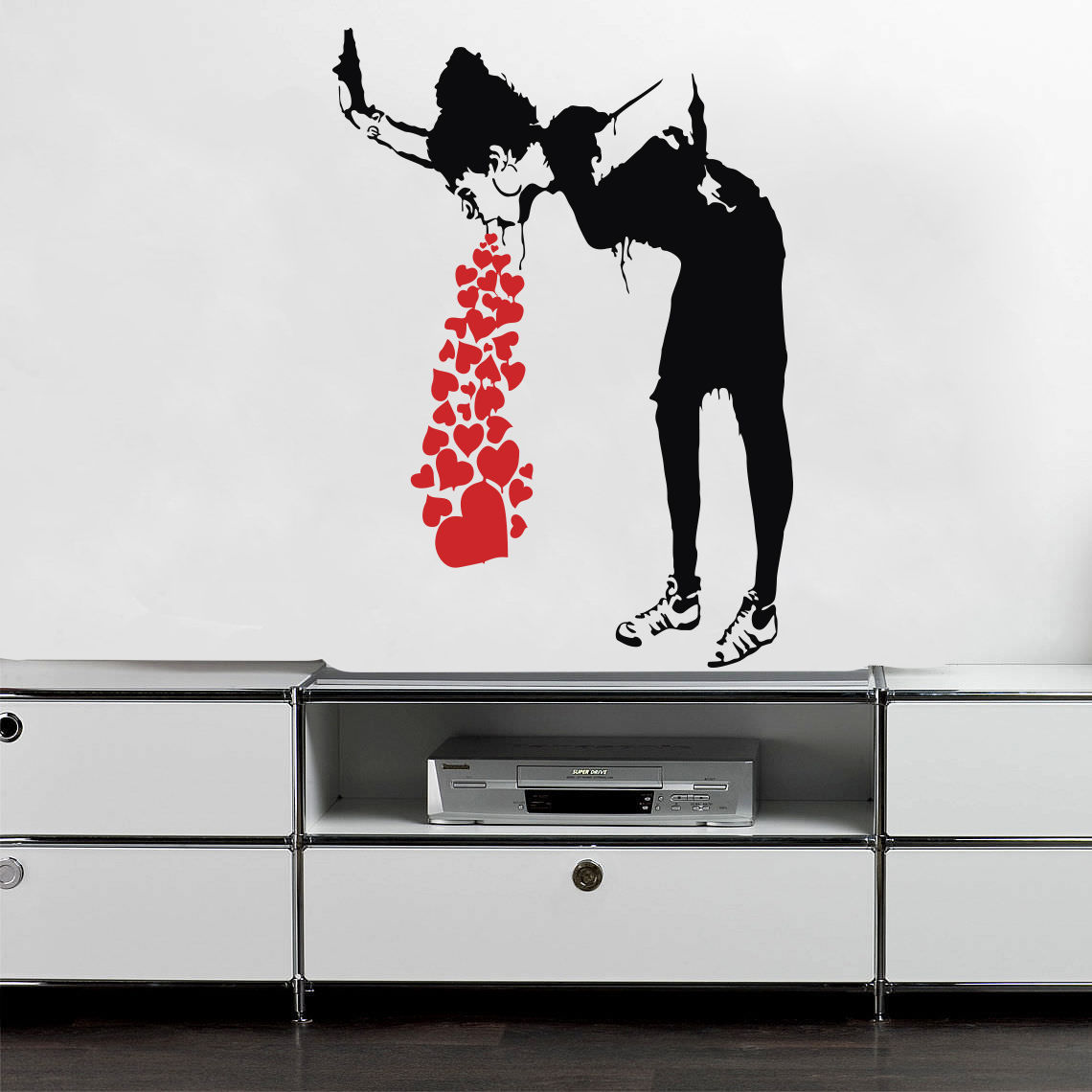 G125 Banksy Barfy Girl Wall Decal pelekat vinil street art graffiti bedroom decor Creative sticker dekorasi bilik tidur kreatif