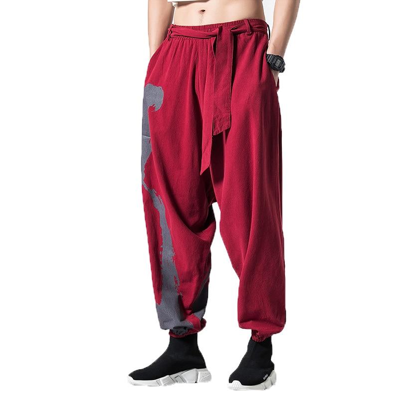 Men's Clothing Clever Spring Men Linen Cotton Pants Chinese Style Wide Leg Trousers Mens Bloomers Jogger Pantalon Homme Hip Hop Streetwear Cross-pants Cargo Pants