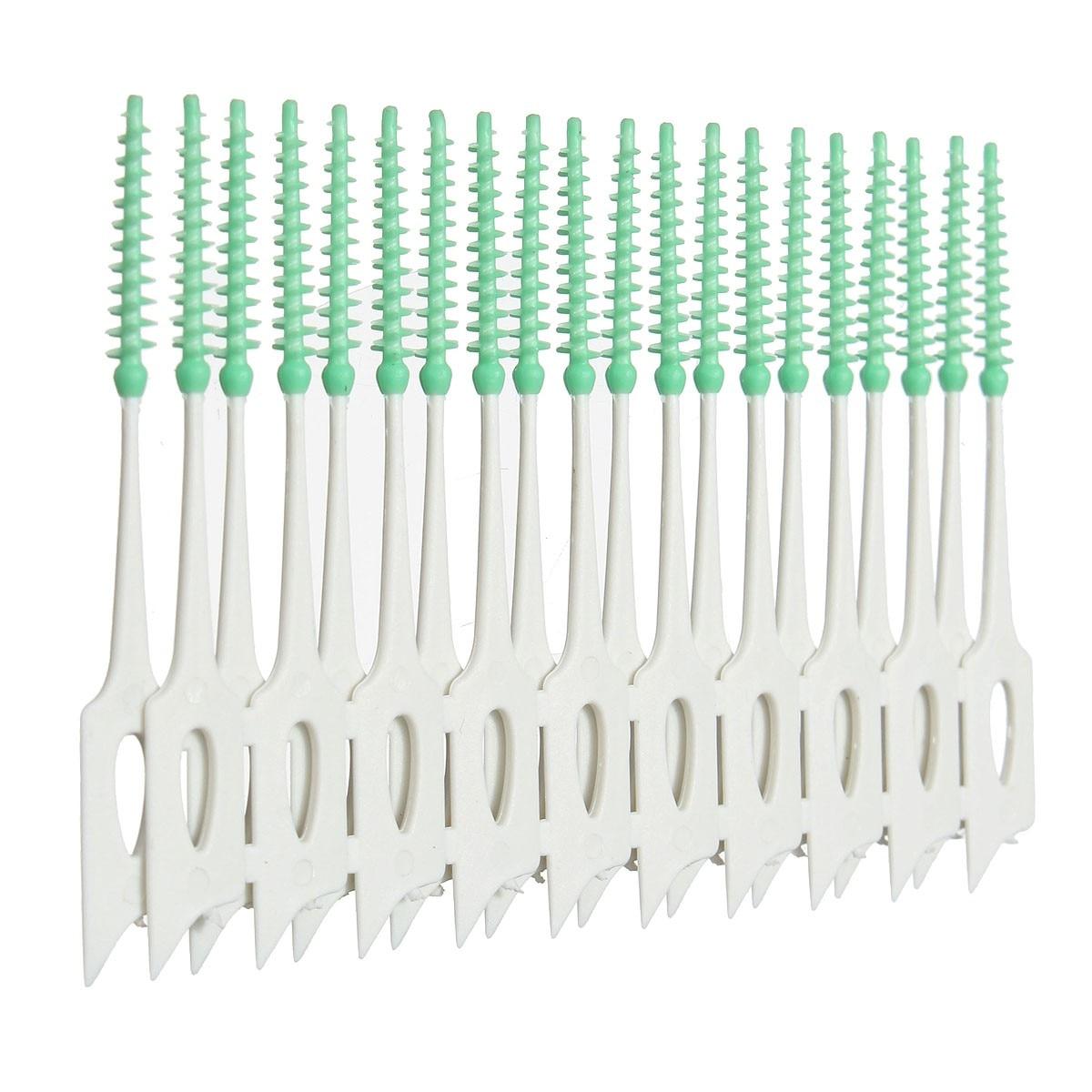 40pcs/pack Plastic Interdental Floss Brushes Soft Dental Toothpick Oral Hygiene Teeth Cleaning Tool Elastic Massage Gums