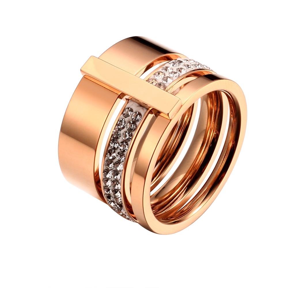 Rustfritt stål Rose Gold Rings for Woman Menn Stones og krystaller - Mote smykker - Bilde 2