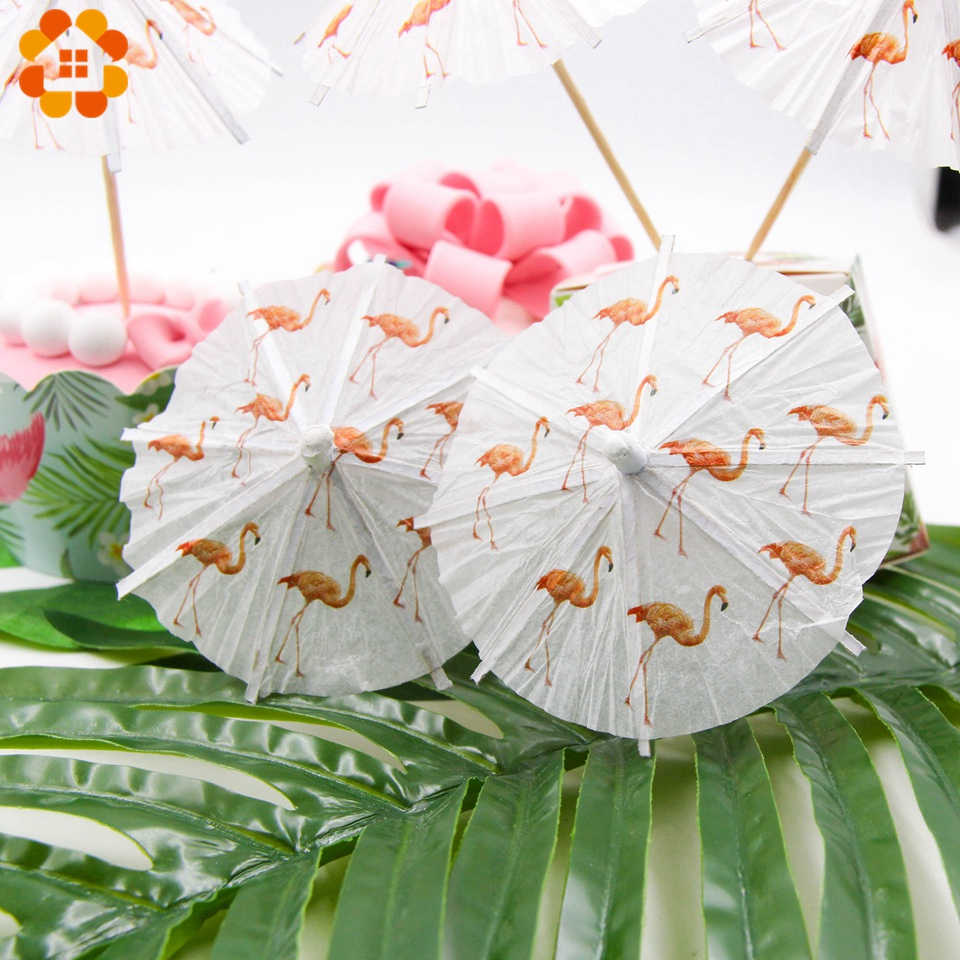40PCS Flamingo Paper Umbrella Drink Picks Cake Topper Picks Cocktail Parasols Paperboard Crafts For Kids Birthday Party Supplies
