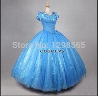 2015 Newest Deluxe Customized Princess Cinderella Dress Movie Cosplay Cinderella Costume And Cinderella Wig For Adults