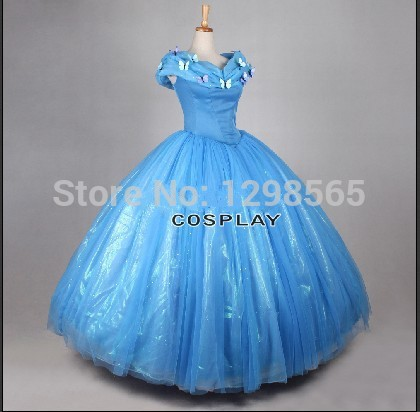 2015 newest deluxe Customized princess Cinderella Dress movie Cosplay Cinderella Costume and cinderella wig For adults cosplay wig 2015 new movie princess cinderella wig long curly ash blonde anime cosplay wig free shipping