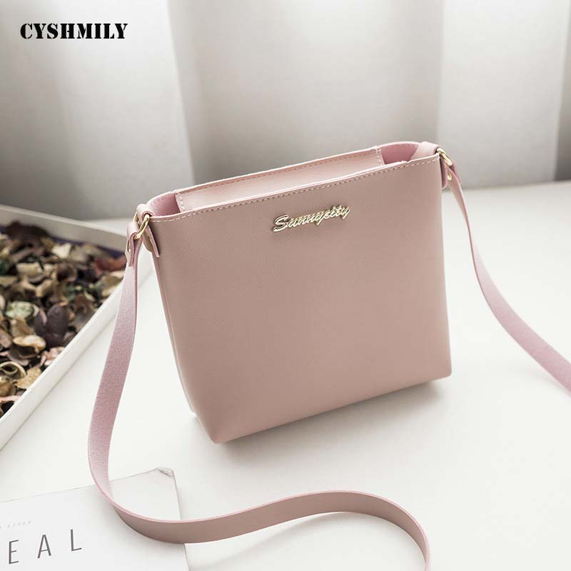 Crossbody-Bags Messenger Small Korean-Style Fashion Women Dress PU CYSHMILY Solid