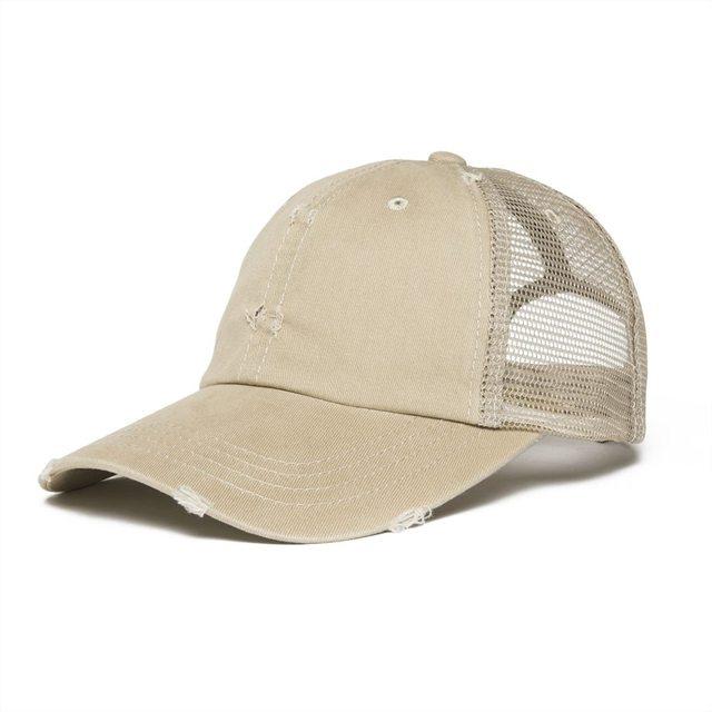 b4302f34c9c0 VOBOOM Khaki Mesh Net Baseball Cap Men Women Dsitressed Washed Cotton  Trucker Caps Worker Hat Summer Sun Protection Hats 020
