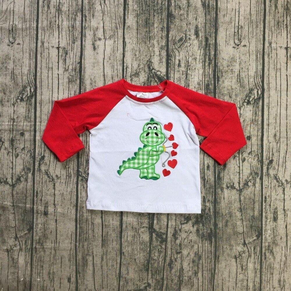 Nueva primavera Día de San Valentín bebé dinosaurio verde rojo amor corazón de algodón superior boutique camiseta reglans niños ropa
