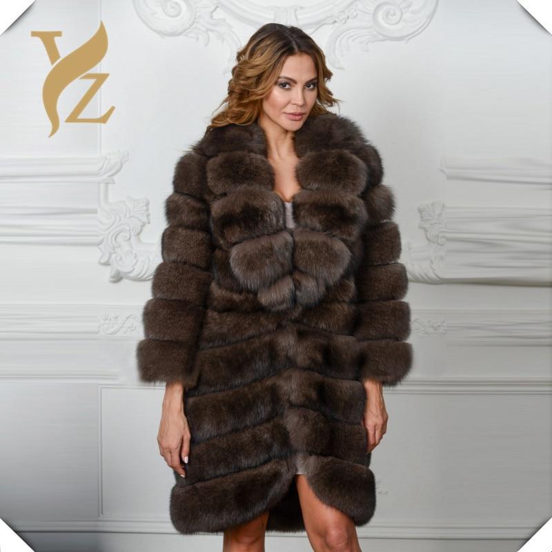 Collar Grand Dark fin Épais Super Color Manteau down Luxe Mode Sable Turn Nouveau De Col Pleine Femmes Renard Avec Véritable Gigh Robe Of Pour Les Pelt Fourrure Hq7Ugx7Z