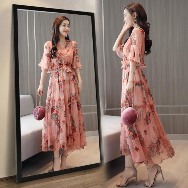 Fashion Elegant Pink Floral Midi Dress Lace V-neck Half Sleeve Chiffon Women Summer Ladies Dress Sundress Vestidos Ropa Mujer 26