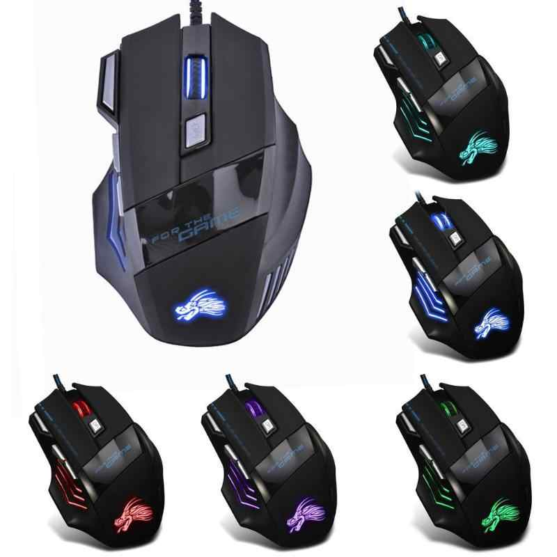 Professional 7 Buttons Adjustable USB Cable LED Optical Gamer Mouse 5500DPI Wired Gaming Mouse for Computer Laptop PC Mice Black