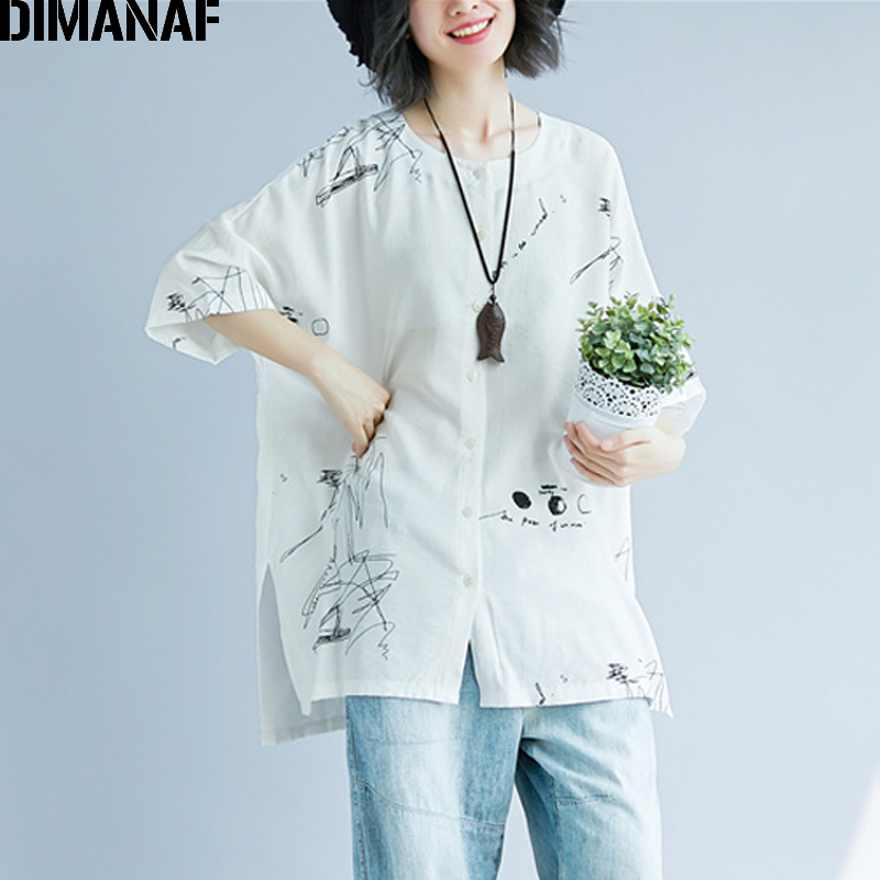DIMANAF Women Summer Blouse Shirt Plus Size Print Linen Thin Basic Tops Femme Tee Casual Large Clothing Loose Soft Cardigan 2018 1