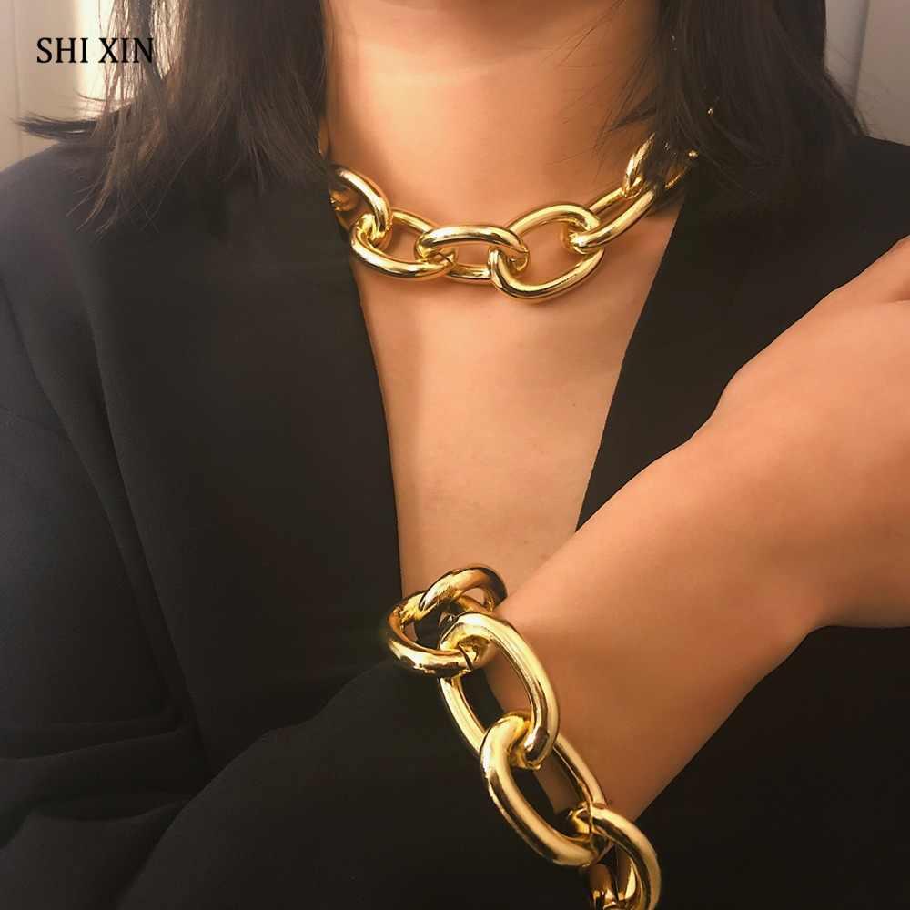 SHIXIN 誇張キューバ厚いチェーンチョーカーネックレス女性ファッションジュエリーパーソナライズステートメントコリアー女性のアクセサリー