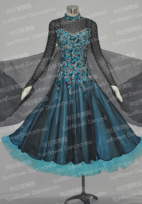 New Ballroom Dress, Konkurrens Slik organza ballroom Standard dansklänning, danskläder, scenslitage, Ballroom dance wear, Waltz,