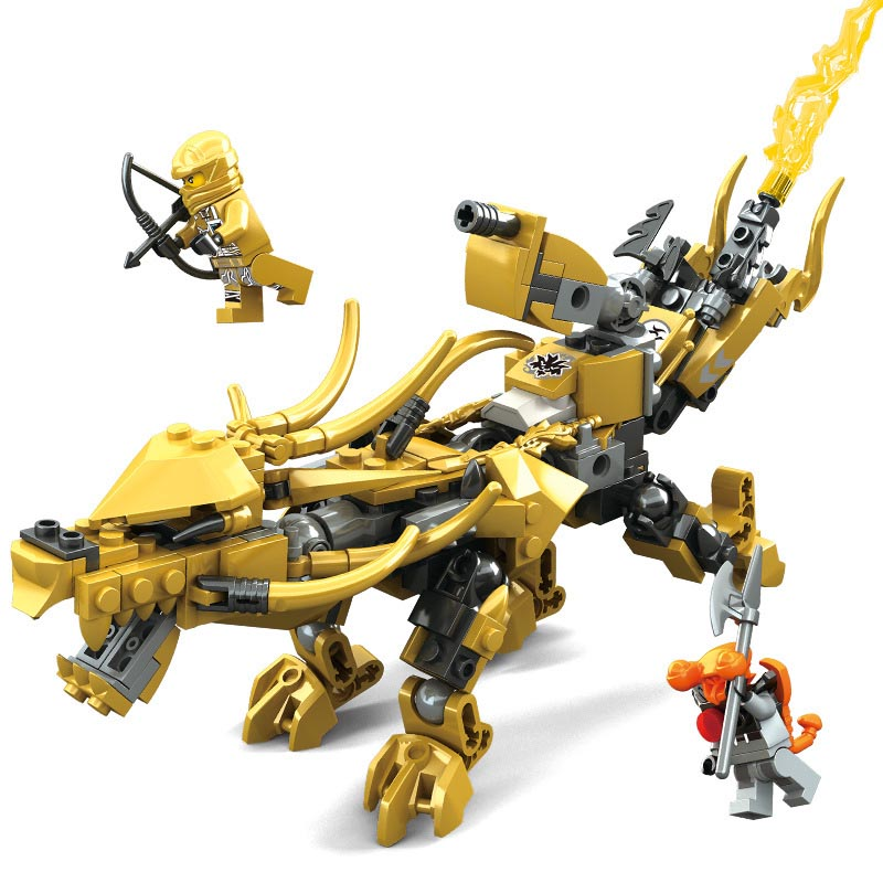 2 Styles Ninjagoe Golden Fire Dragon Knight Building Blocks 2 Patterns Compatible Legoings Ninjao Figures Toys for Children цены
