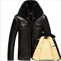 Men Winter Velvet Thick Warm PU Leather Down Jackets New Male Solid color Outwear Coats Against the Cold Down Parkas Large Size