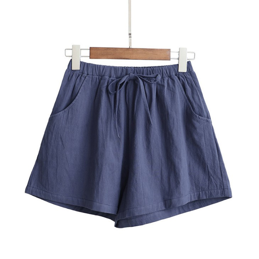 HTB147.FblCw3KVjSZFuq6AAOpXaQ - Women Female Casual Solid Color Cotton Linen Shorts Ladies Summer High Waist Loose Elastic Drawstring Club Holiday Short Pants