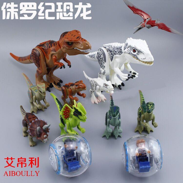 10pcs 79151 77001 Park figures Dinosaur Bricks Figures Blocks Super Heroes baby toys Compatible with lepin