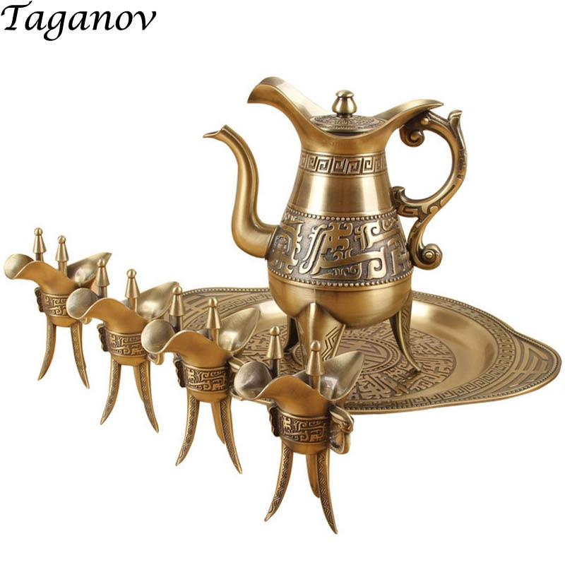 bronze wine set flagon hip flask Chinese antique pot 4 goblets wine bottle tray Six piece
