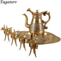 bronze wine set flagon hip flask Chinese antique pot 4 goblets wine bottle tray Six piece wine bar set family friends best gifts