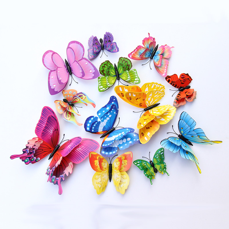 12Pcs Mixed color Double layer Butterfly 3D Wall Sticker for wedding decoration Magnet Butterflies Fridge stickers Home decor|Wall Stickers| |  - title=