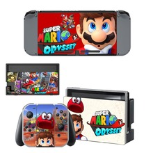 Super Mario Odyssey Decal Vinyl Skin Protector Sticker for Nintendo Switch NS Console + Controller +Stand Holder Protective Film