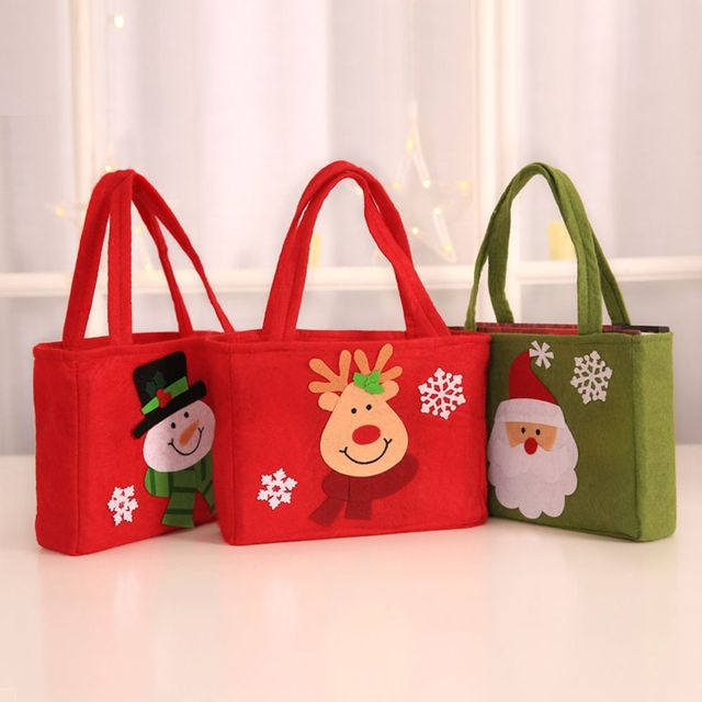 Cartoon Design Non Woven Fabric Christmas Handbags Elk Snowman Bag Decoration Festive