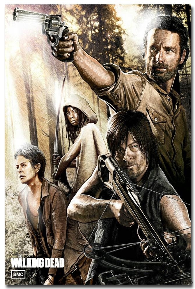 The Walking Dead TV Series Art Canvas Poster 12x18 24x36 inch