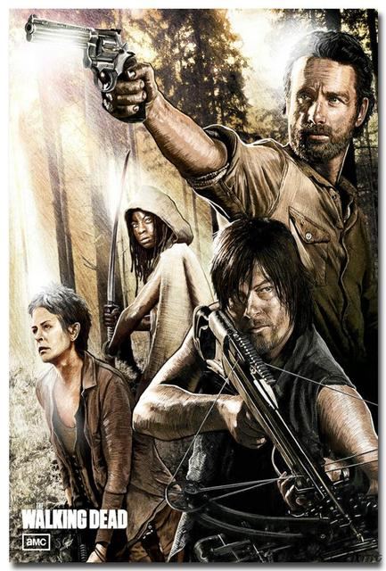 The Walking Dead Characters Hot TV Series Art Silk Fabric Poster Print 12×18 24×36″ Pictures Room Decor 024