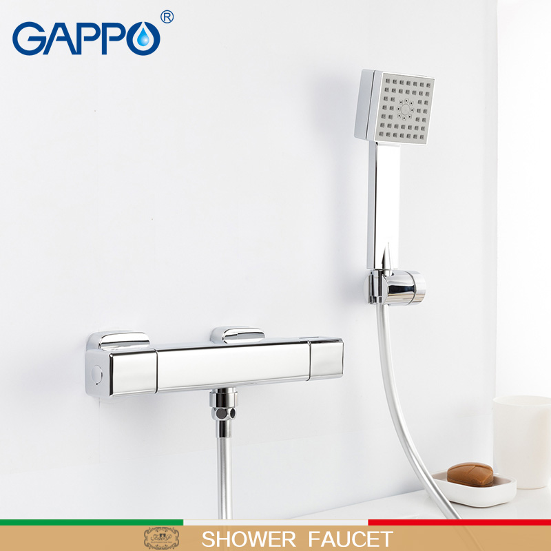 GAPPO shower faucet mixer tap bathroom thermostat faucet Square waterfall wall bath mixer faucets tap Accessories water pipe china sanitary ware chrome wall mount thermostatic water tap water saver thermostatic shower faucet