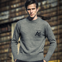 AK CLUB Brand Sweater Woolen O Neck AK Pocket Jacquard Half A Turtleneck 1503027