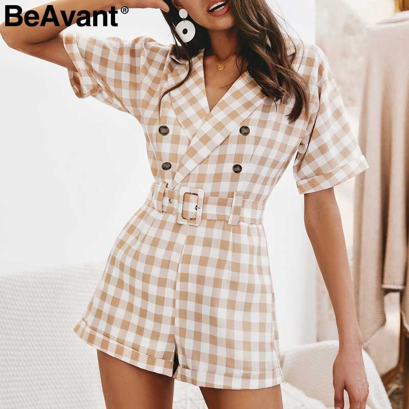BeAvant прямое шерстяное пальто в клетку с v-образным вырезом, женский комбинезон, короткий комбинезон женские офисные Летний комбинезон брюки с высокой талией на каждый день с поясом Комбинезон 2019