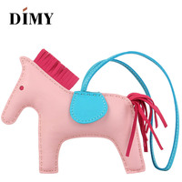 DIMY Handmade Genuine Lamb Leather Mini Pony Bag Cute Horse Charm Lambskin Pendant Christmas Charms For Women's Bags 13*10cm