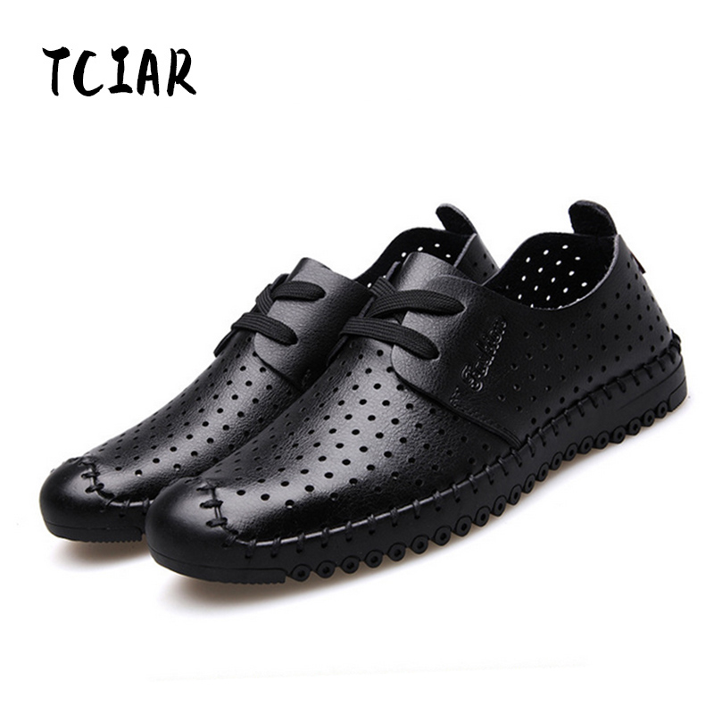TCIAR Brand 2018 Fashion Spring Summer Breathable Men Casual Leather Shoes Soft Moccasins Lace-up Flat Shoes Mens DA008 top fashion shoes men mens canvas shoe chaussure homme leather business breathable spring autumn solid medium b m flat lace up