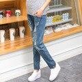 Gravidez maternidade calças jeans macacões para mulheres grávidas cintura Elástica jeans rasgado gravidez grávida macacão roupas