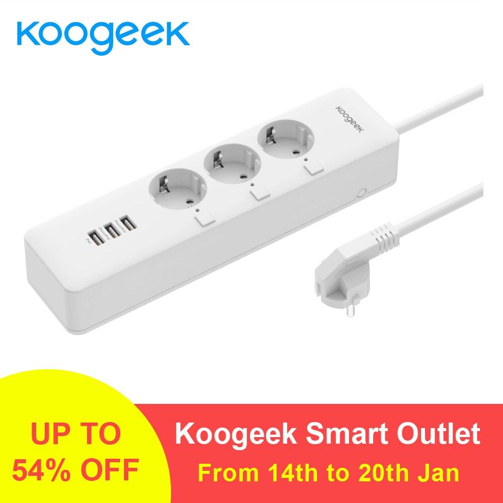 Koogeek Smart Presa Singolarmente Controllata Wi-Fi Presa Power Strip con 3 Porte USB di Ricarica per Apple HomeKit A Distanza di Controllo
